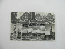 Postcard Netherlands Greetings Damrak Station Voorburgwal Westertoren Amsterdam