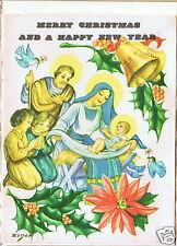 Vintage Christmas Holiday Card, Mother Saint Mary, Baby Jesus Nativity Bethlehem