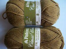 Patons Classic DK Superwash 100% wool yarn, Cork, lot of 2 (125 yds each)