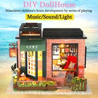DIY Wooden Assemblin Toy Model Doll House Miniature Kit Bookstore Birthday