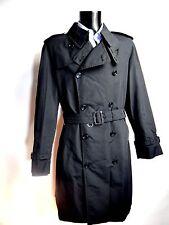 AQUASCUTUM Black Mid-weight BLADEN Rain Trench Coat sz 44 BNWT