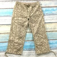 Ruff Hewn Womens Pants size 12 new Tan Multi Cotton Cropped Capris Drawstring