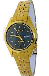 NEW Vintage Ladies Automatic 21 Jewels CITIZEN Gold & Black Dial Watch With Date