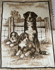 Biederlack Blanket Bernese Mountain Dog Puppies Brown Tan Neutral Colors Acrylic