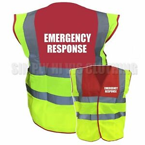 Emergency Response Pre Printed Red / Yellow Two ToneHi Vis Safety Vest / Hi ...