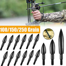 24/12x Archery Arrowheads 100-250Gr Target Tips Field Screw Point Arrow Practice