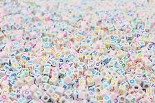 1000 x 6mm WHITE Alphabet Beads COLOURFUL LETTERS A-Z, Pony Beads, Dummy Clips