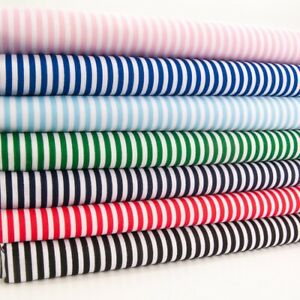 Candy Stripe Fabric - Polycotton Striped Material - 7 Colours with White