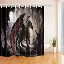 Dragon With Wings In Cave Fantasy Bathroom Fabric Shower Curtain & Hooks 71inch
