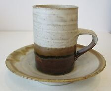 STUDIO POTTERY CUP & SAUCER BOWL TWO TONE EFFECT J C SEAL MODERNIST FORM