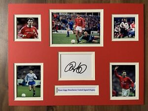 """Manchester United Ryan Giggs Signed 16"""" X 12"""" Double Mounted Display"""