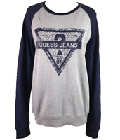 GUESS JEANS | Unisex LS Logo Jumper Windcheater | Grey & Navy Blue | Size S