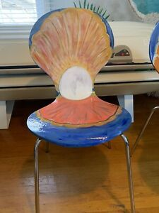 Coaster Company Chair Ooak Hand Painted Resin Protected Clam Chair Signed Djh
