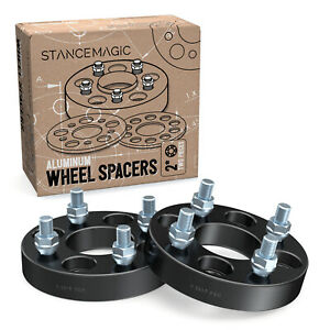"""2pc 1"""" (25mm) Thick Black 4x100 Wheel Spacers   60.1mm Bore   12x1.5 Studs Nuts"""