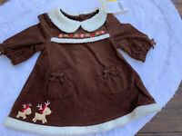 Gymboree 0-3 Months Baby Girl's Reindeer Dress With Diaper Cover Retired NWT