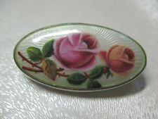 Traumhafte Guilloche Emaille Brosche um 1900 Jugendstil Rosenmalerei 800 Silber