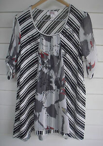 Clarity Plus Size S - Women's Sheer Black White Grey Red Blouse Top - Gemstones