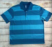 NWOT PGA Tour Mens Blue Striped Shirt Golf Polo Collared Short Sleeve Size 3XL