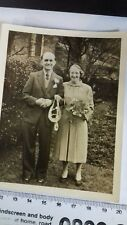 Vintage black and white Wedding photo. Unknown couple. Undated.