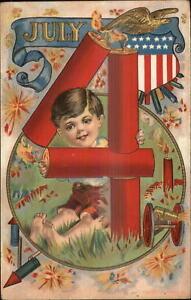 4th Fourth of July Sweet Little Boy Celebrating c1910 Postcard