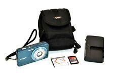Sony Cybershot Digital Camera DSC-W350 14.1 MP Battery Charger Card Case Blue