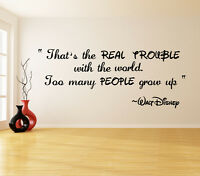 Vinyl Wall Decal Quote Real Trouble, Walt Disney Saying Art Decor Text Sticker