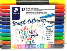 STAEDTLER Brush Letter Duo Double ended Lettering Markers 12 ea. Set New!