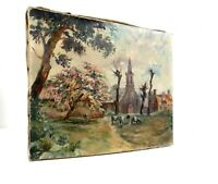 ANTIQUE FRENCH IMPRESSIONISM OIL PAINTING COUNTRY TOWN BY A GARDAN ABOUT 1880