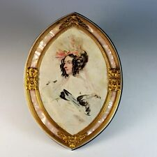 Antique French Portrait Print in Unique Marble and Ormolu Frame