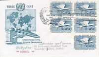 United Nations NY41 - Enveloppe 1er jour 1955 Civil Aviation Airmail 3c