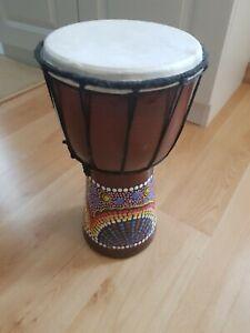 Djembe Trommel Bongo Afrika Holz bemalt Drum Klang Instrument Musik Dot Painting