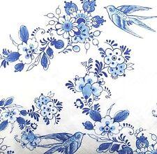3 x Single SMALL Paper Napkins For Decoupage Tissue Blue White Flowers Bird S217