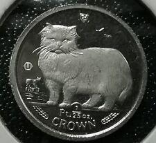 + + 1989 ISLE OF MAN 1/25 Oz Crown MANX CAT 999.9 PLATINUM Proof Coin SCARCE! ++