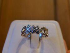 18k white gold diamond flower fancy band ring estate designer vine eternity 6.25