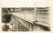 Black River Falls Wisconsin~Concrete Bridge into Town~1930s Real Photo Postcard