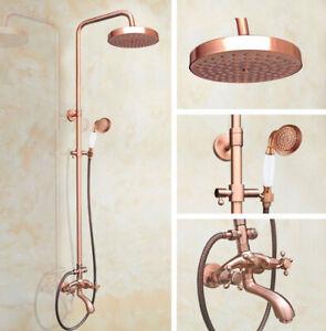 Antique Copper Bathroom Rainfall Shower Faucet Set Hand Shower Mixer Tap 2rg505