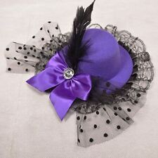 Burlesque Purple Mini Top Hat with Bow Diamonte, Feather & Lace - Aussie Seller