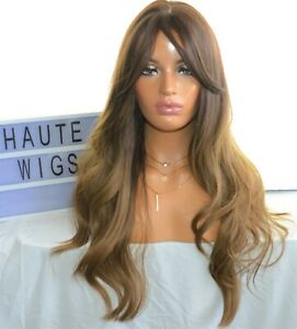 """26"""" DARK BROWN BRUNETTE BLONDE Wig HAIR with Fringe / Bangs WAVY SYNTHETIC HAIR"""