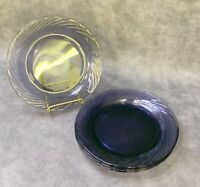 "Set of 4 Pyrex Festiva Purple Amethyst Glass 7.5"" Dining Salad Plates Vintage"