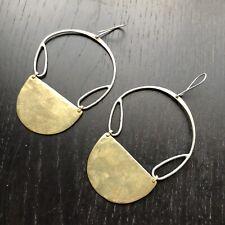 Vintage Signed Modernist Sterling Silver Crown S Hallmark Earrings Half Moon Art