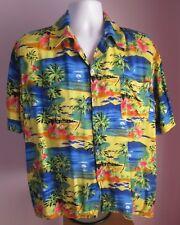 VTG Mens Unbranded Yellow/Blue Islands Hawaiian Shirt Size XL Short  (b73)
