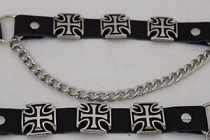 Men Western Iron Cross Silver Metal Boot Chain Pair Black 2 Straps Shoe Bracelet