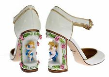 NEW DOLCE & GABBANA Shoes White Leather Puppi Doll Mary Janes Pumps EU40 /US9