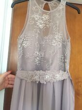 BMWT LITTLE MISTRESS MINK LACE MAXI EVENING/ BRIDESMAID DRESS SIZE 10 RRP £75
