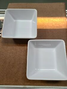 """2- Pampered chef simple additions white 71/2"""" square serving bowls"""