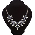 Women Rhinestone Crystal Pearl Flower Pendant Choker Bib Statement Necklace Gift