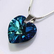 Bermuda Blau Herz Original Swarovski Elements Kette Anhänger Damen-Geschenk .