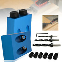 1 Set Woodworking Pocket Hole Screw Jig Kit with Dowel Puncher Locator Jig Drill