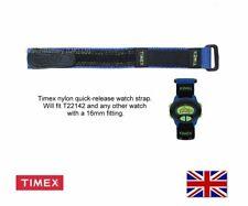 Genuine Timex Quick Release Nylon Watch Strap - T22142 (16mm Blue/Black)