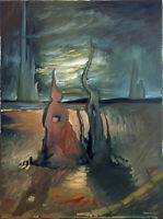 "Surrealism Dali Style Landscape Original Oil Painting Signed 18""x24"" Dark Art"